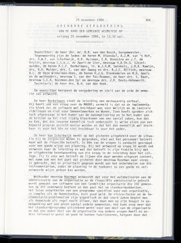 Raadsnotulen Heemstede 1988-11-25
