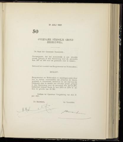 Raadsnotulen Heemstede 1921-07-21