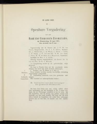Raadsnotulen Heemstede 1921-06-16