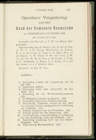 Raadsnotulen Heemstede 1929-10-03