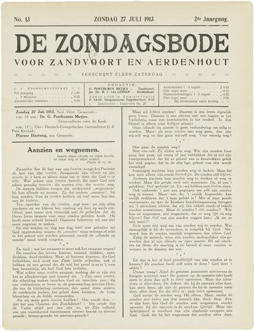De Zondagsbode voor Zandvoort en Aerdenhout 1913-07-27