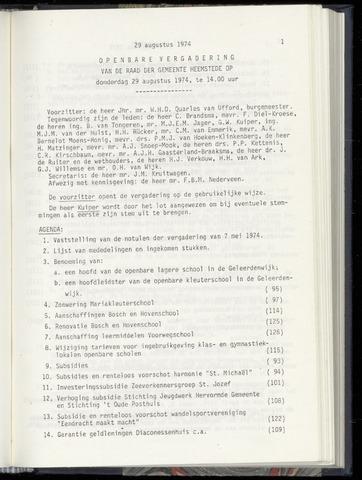 Raadsnotulen Heemstede 1974-08-29