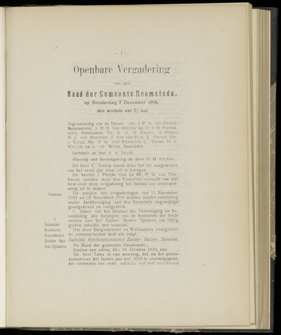 Raadsnotulen Heemstede 1916-12-07