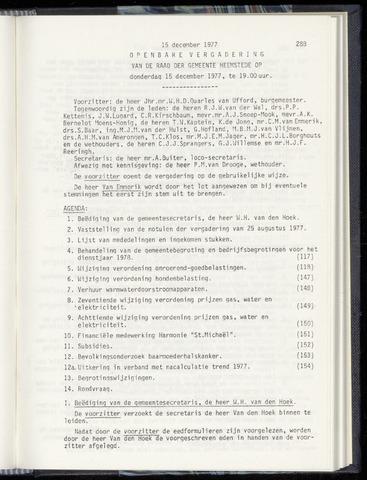Raadsnotulen Heemstede 1977-12-15