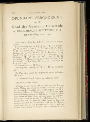 Raadsnotulen Heemstede 1948-09-07