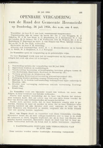 Raadsnotulen Heemstede 1956-07-26