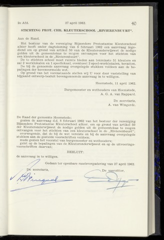 Raadsnotulen Heemstede 1962-04-27