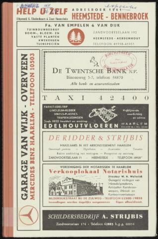 Adresboeken Heemstede, Bennebroek 1961