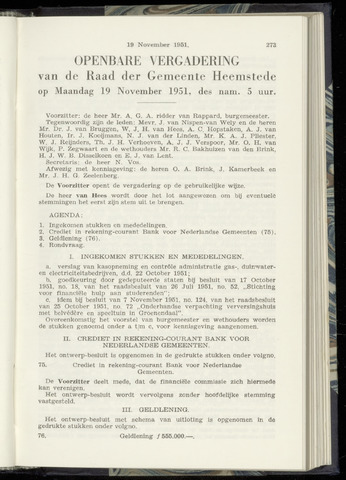 Raadsnotulen Heemstede 1951-11-19