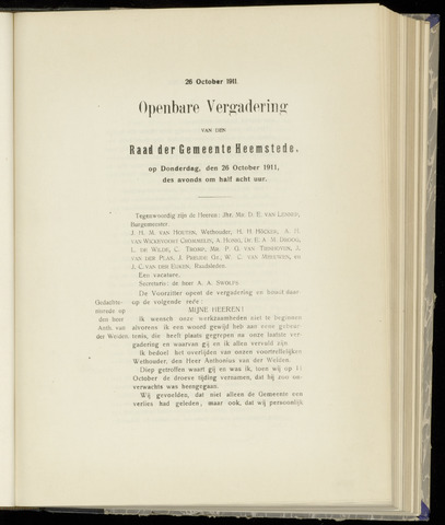 Raadsnotulen Heemstede 1911-10-26