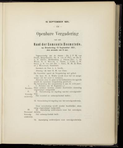 Raadsnotulen Heemstede 1921-09-15