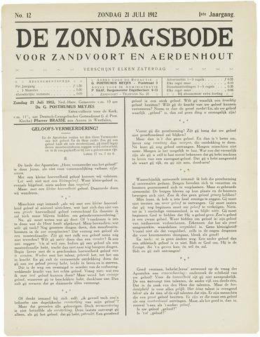 De Zondagsbode voor Zandvoort en Aerdenhout 1912-07-21