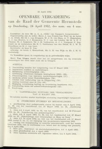 Raadsnotulen Heemstede 1952-04-24