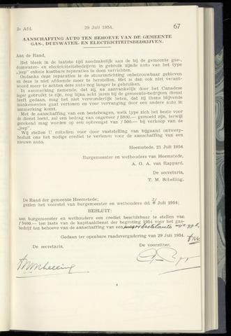 Raadsnotulen Heemstede 1954-07-29