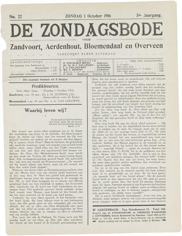De Zondagsbode voor Zandvoort en Aerdenhout 1916-10-01
