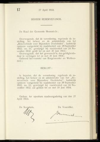 Raadsnotulen Heemstede 1933-04-27