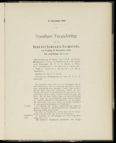 Raadsnotulen Heemstede 1916-12-22