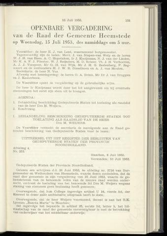 Raadsnotulen Heemstede 1953-07-15