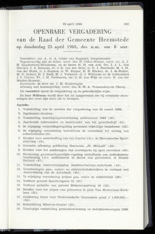 Raadsnotulen Heemstede 1968-04-25