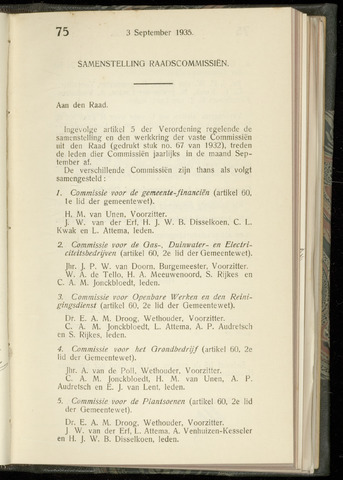 Raadsnotulen Heemstede 1935-09-03