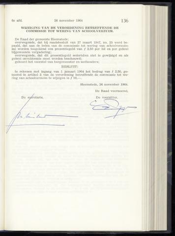 Raadsnotulen Heemstede 1964-11-26