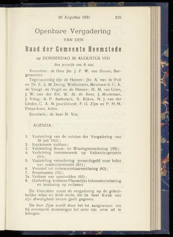 Raadsnotulen Heemstede 1931-08-20