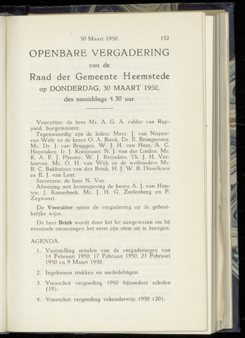 Raadsnotulen Heemstede 1950-03-30