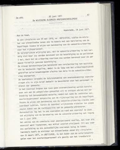Raadsnotulen Heemstede 1977-06-30