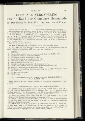 Raadsnotulen Heemstede 1951-06-28