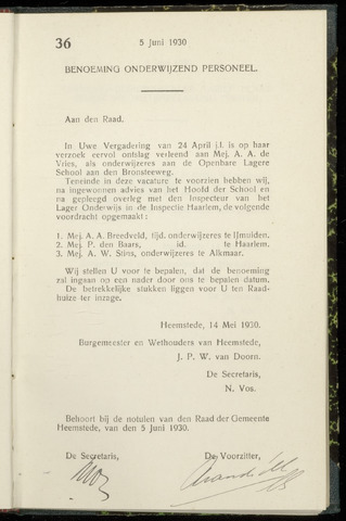 Raadsnotulen Heemstede 1930-06-05