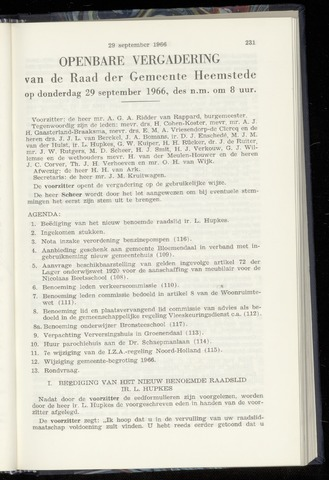 Raadsnotulen Heemstede 1966-09-29