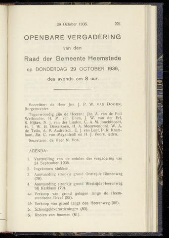 Raadsnotulen Heemstede 1936-10-29