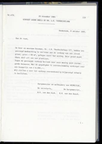 Raadsnotulen Heemstede 1985-11-28