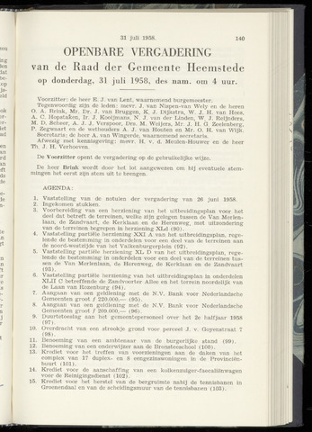 Raadsnotulen Heemstede 1958-07-31