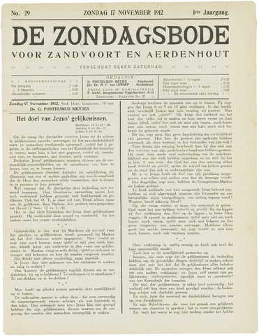 De Zondagsbode voor Zandvoort en Aerdenhout 1912-11-17