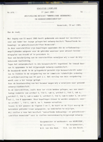Raadsnotulen Heemstede 1985-06-27