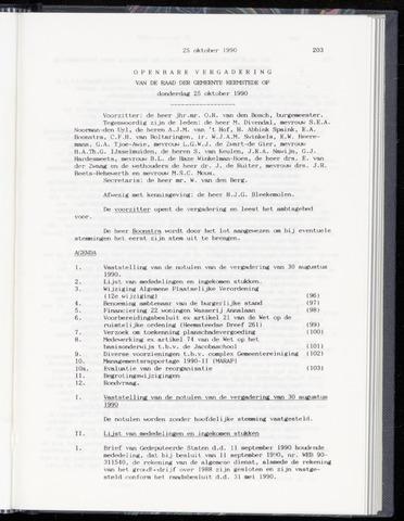 Raadsnotulen Heemstede 1990-10-25