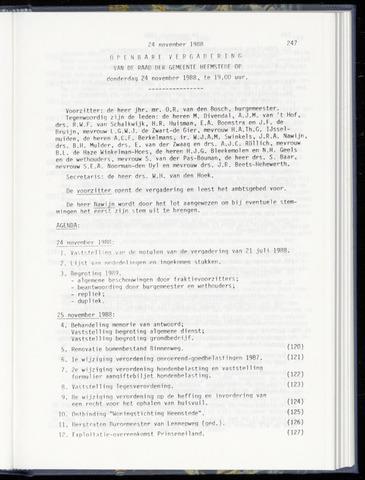 Raadsnotulen Heemstede 1988-11-24