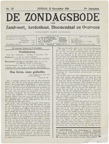 De Zondagsbode voor Zandvoort en Aerdenhout 1916-12-31