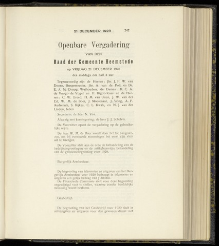 Raadsnotulen Heemstede 1928-12-21