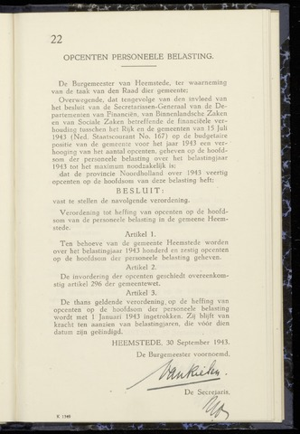 Raadsnotulen Heemstede 1943-09-30