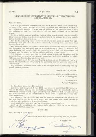 Raadsnotulen Heemstede 1962-07-26