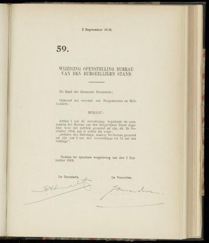 Raadsnotulen Heemstede 1919-09-02