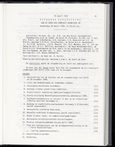 Raadsnotulen Heemstede 1989-03-30
