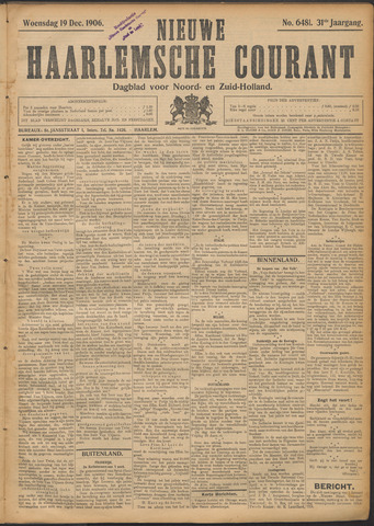 Nieuwe Haarlemsche Courant 1906-12-19