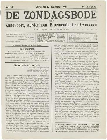 De Zondagsbode voor Zandvoort en Aerdenhout 1916-12-17