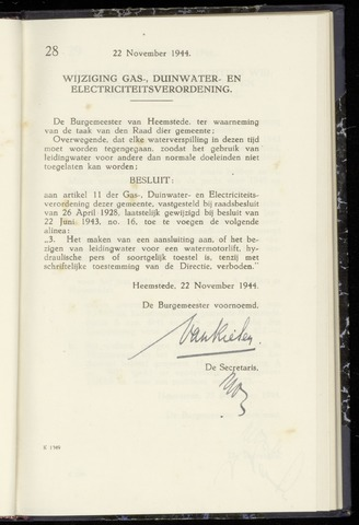 Raadsnotulen Heemstede 1944-11-22