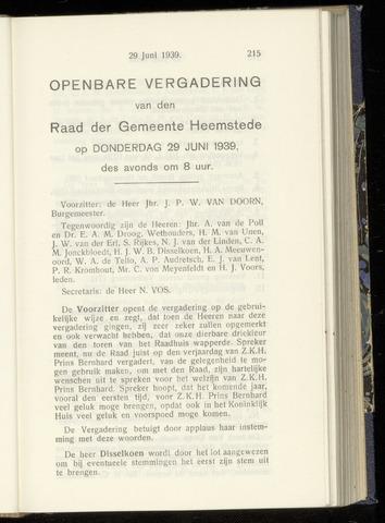 Raadsnotulen Heemstede 1939-06-29