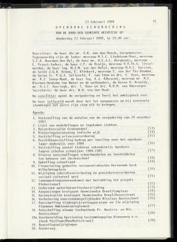 Raadsnotulen Heemstede 1984-02-23