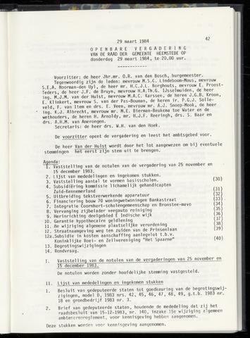 Raadsnotulen Heemstede 1984-03-29